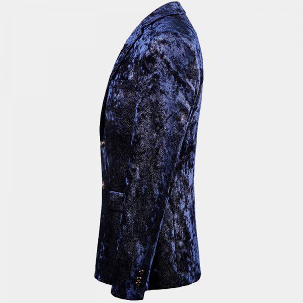 Dark Blue Mens Velvet Sport Coat