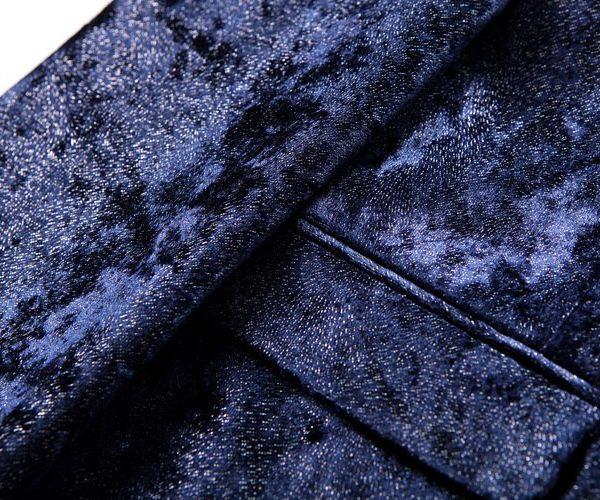 Dark Blue Velvet Blazer Coat for Men