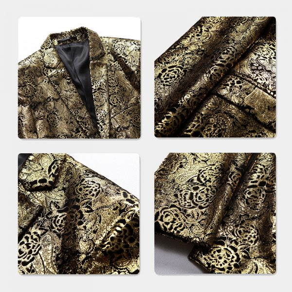 Floral Gold Wedding Suit Jacket For Men