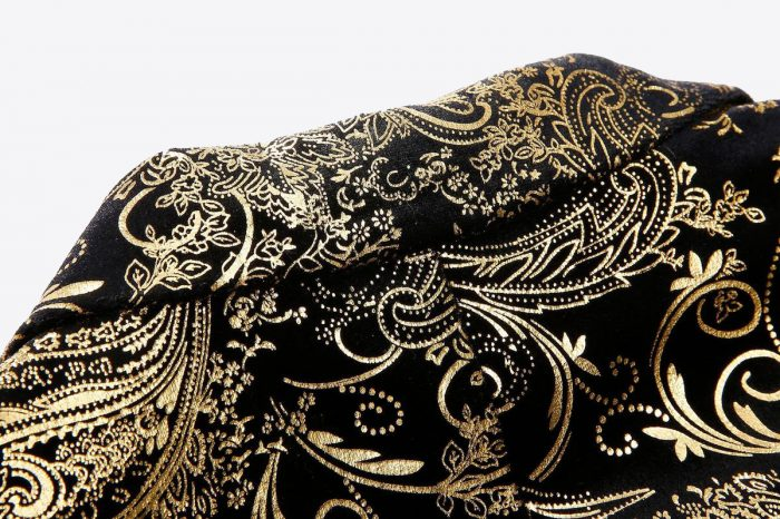 Gold And Black Formal Jacket With Floral Print