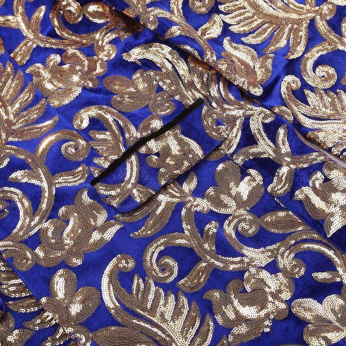 Gold And Blue Velvet Sequins Tuxedo Jacket