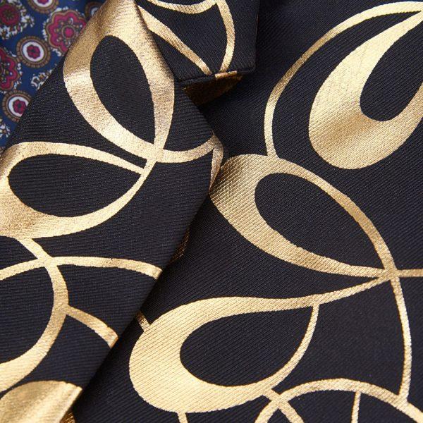 Gold And black Floral Tux Suit Jacket