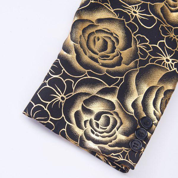 Gold Floral Print formal Blazer