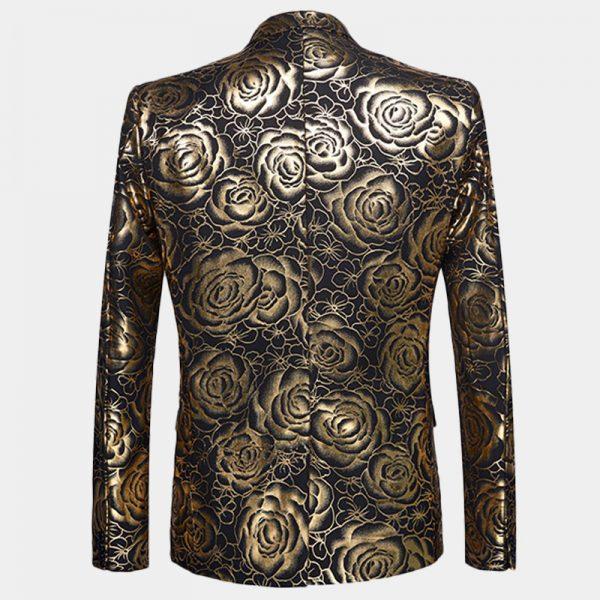 Gold Floral Tuxedo Blazer