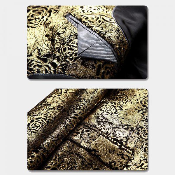 Gold Printed Floral Blazer Mens