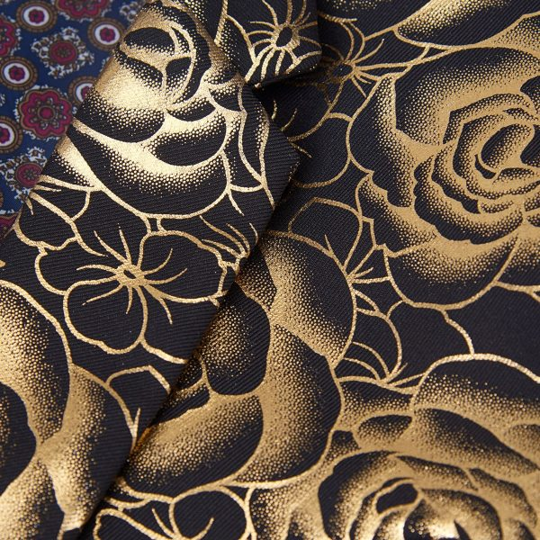 Gold Tuxedo Jacket Floral Pattern Material
