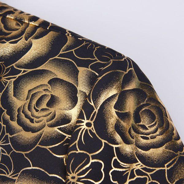 Gold Tuxedo Jacket Floral Print