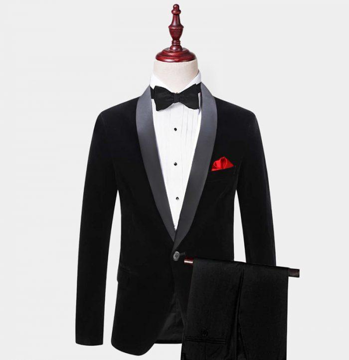 Groom Black Velvet Tuxedo Suit With Shawl Lapel -Werdding-Prom from Gentlemansguru.com