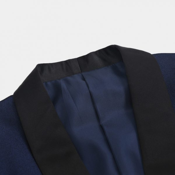 Navy Blue Tuxedo With Black Shawl Lapel