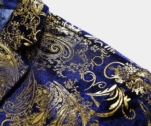 Royal Blue And Gold Floral Print Jacket MEns