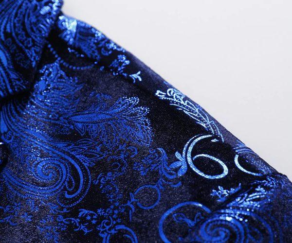 Royal Blue VIntage Floral Jacket Mens