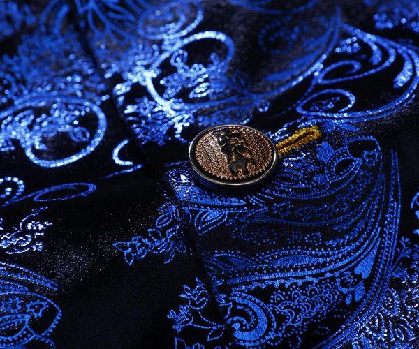 Royal Blue And Black Floral Mens Jacket Blazer