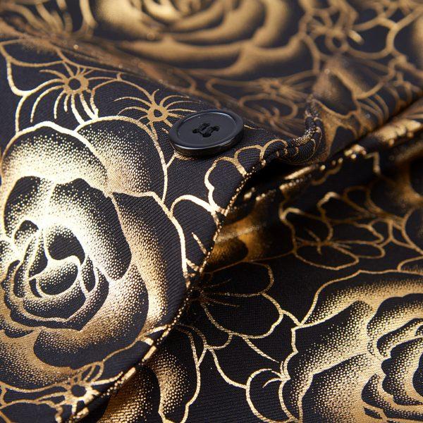Luxury Gold Tuxedo Jacket Floral Print