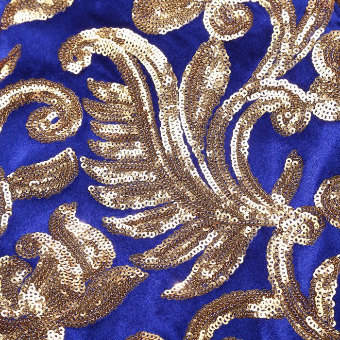 Luxury Sequin Blazer in Royal Blue An,d Gold Floral Sequins