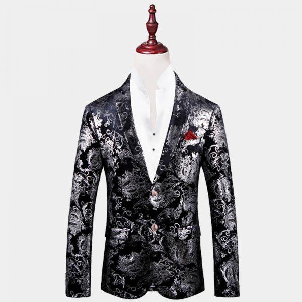 Mens Balck And Silver Floral Blazer Velvet