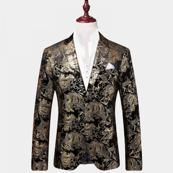 Mens Black And Gold Floral Blazer