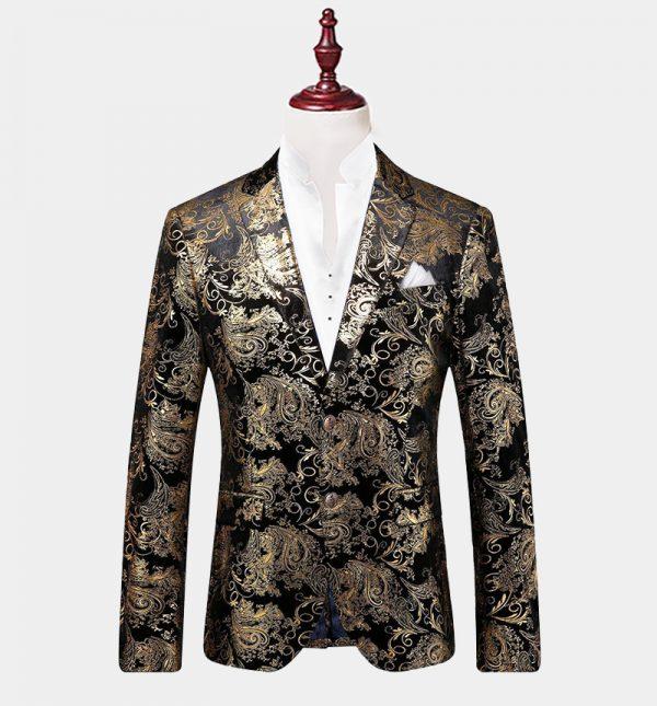 Mens Black And Gold Floral Blazer