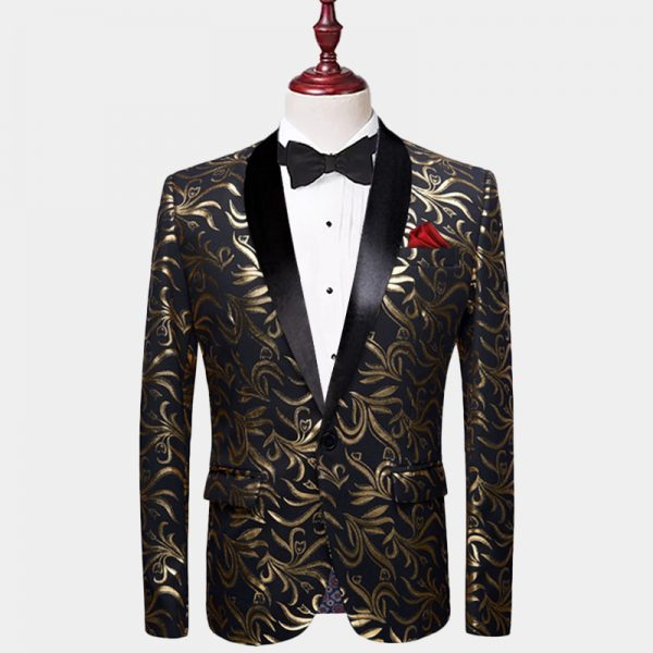 Mens Black And Gold Floral Tuxedo Jacket