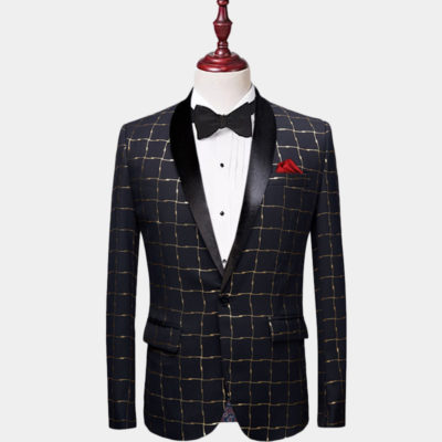 Mens Black And Gold Plaid Tuxedo Jacket
