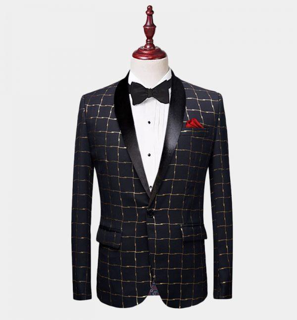 Mens Black And Gold Plaid Tuxedo Jacket