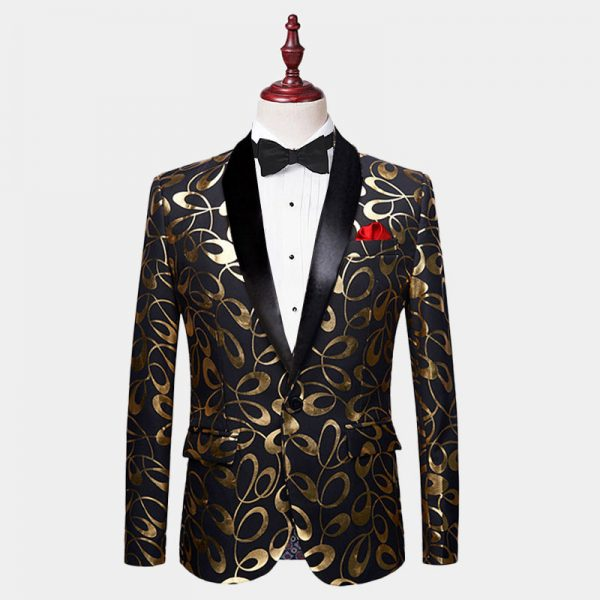 Mens Black And Gold Modern Tuxedo Jacket