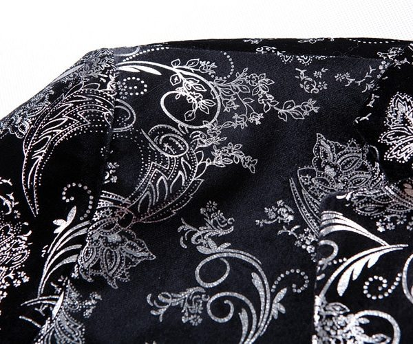 Mens Black And Silver Floral Jacket