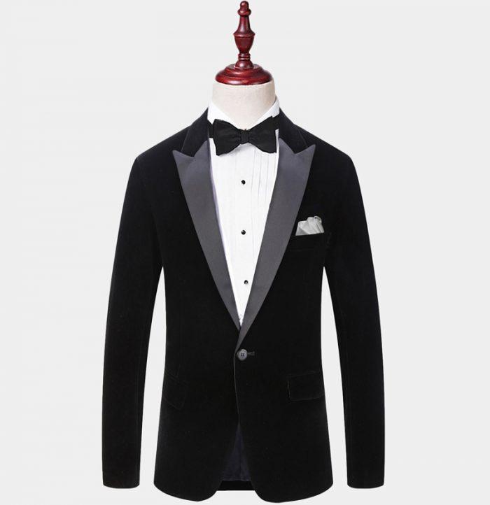 Mens Black Velvet Dinner Jacket Peak Collar For Wedding - Prom from Gentlemansguru.com
