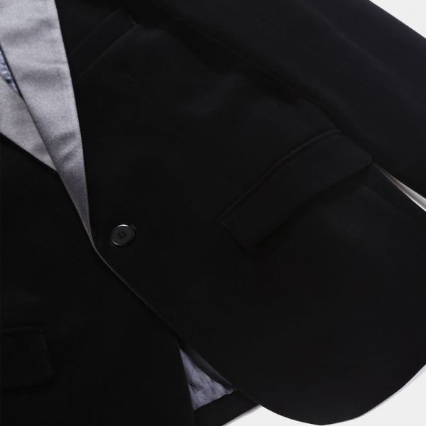 Mens Black Velvet Tuxedo Suit Jacket Prom Blazer from Gentlemansguru.com