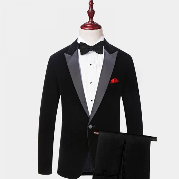 Mens Black Velvet Tuxedo Suit With Peak Satin Collar from Gentlemansguru.com