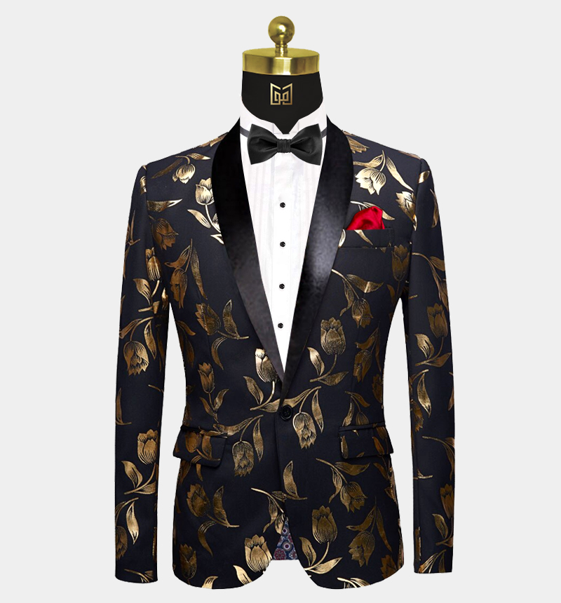 Mens-Black-and-Gold-Floral-Tuxedo-Jacket-Tulip-Prom-Blazer-Dinner-Jacket-from-Gentlemansguru.com