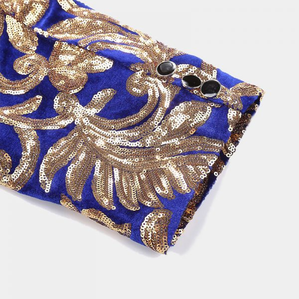 Mens Blue And Gold Sequin Blazer Jacket With Floral Design