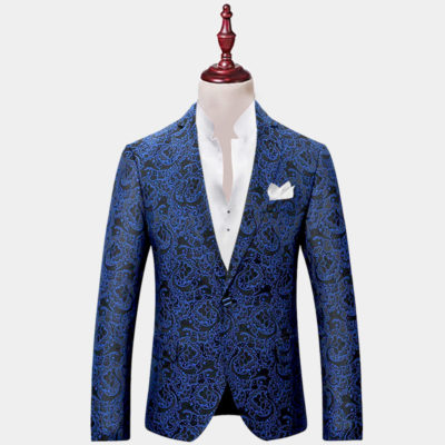 Mens Blue Paisley Dinner Jacket
