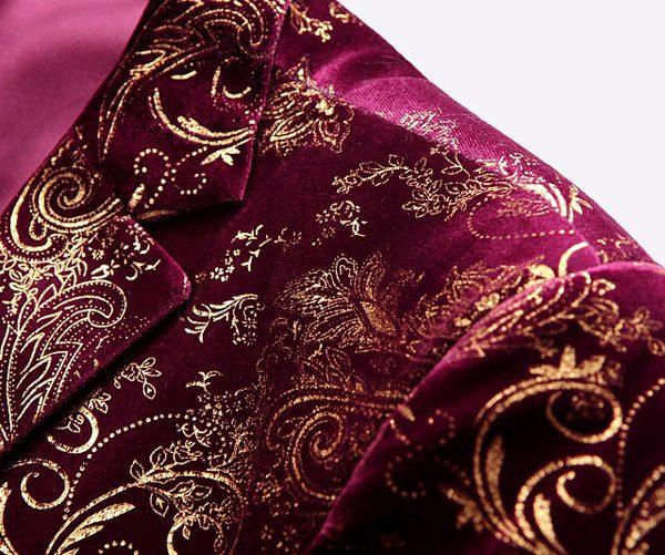 Mens Burgundy And Gold Blazer Formal Jacket