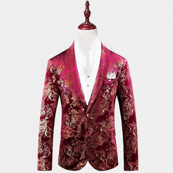 Mens Burgundy And Gold Floral Blazer