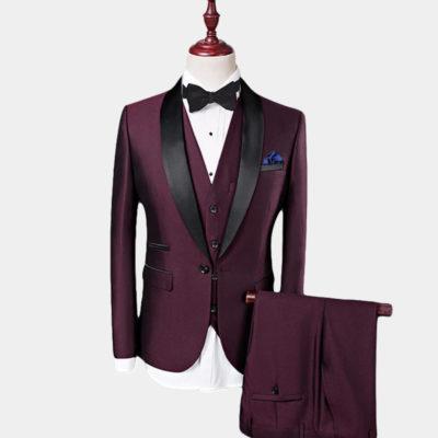 Mens Burgundy Tuxedo Suit 3 Piece