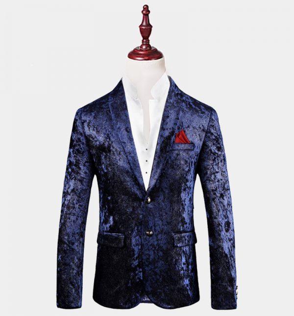 Mens Dark Blue Velvet Blazer