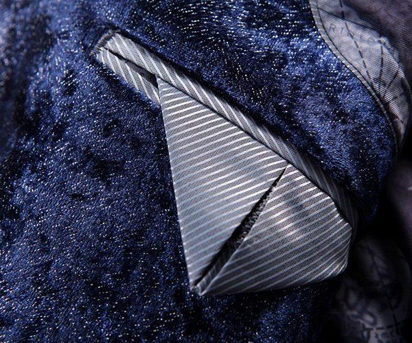 Mens Dark Blue velvet Jacket