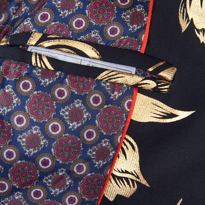 Men's Floral Tulips Jacket IN Black And Gold
