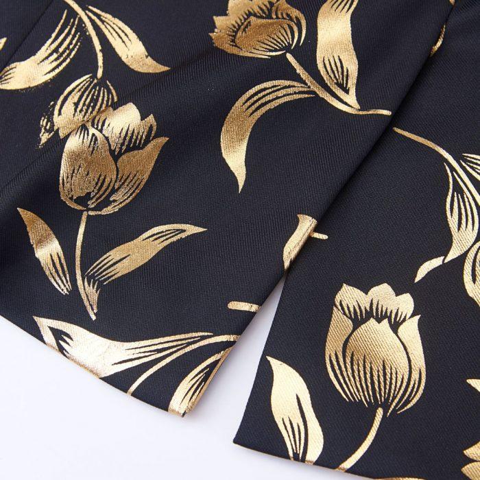 Men's Formal Coat in Black And Gold Floral Pattern
