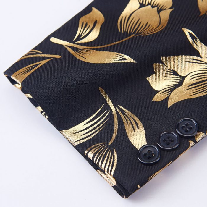Mens Gold And Black Floral Tux Pattern