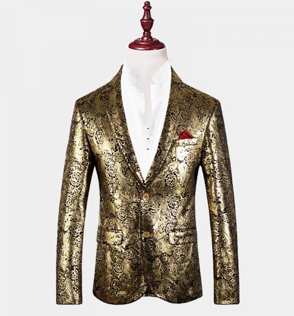 Mens Gold Floral Blazer
