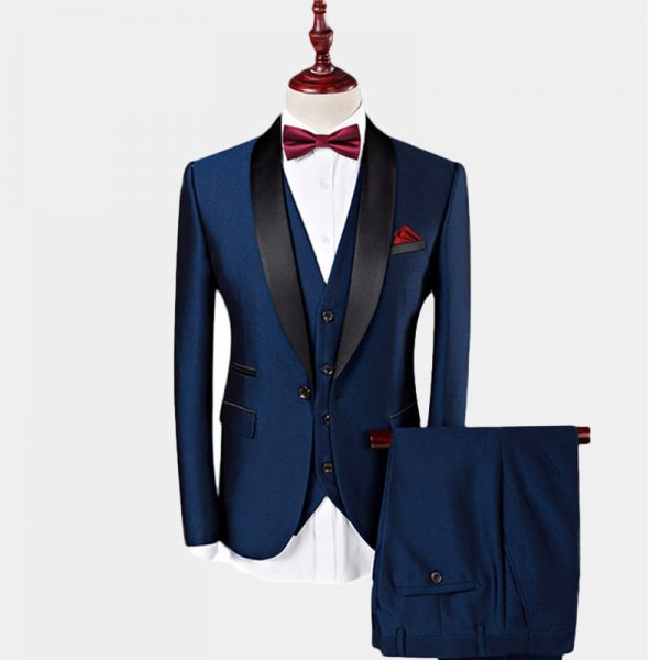 Mens Navy Blue Tuxedo Suit 3 Piece