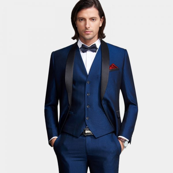 Mens Navy Blue Tuxedo Wedding Suit