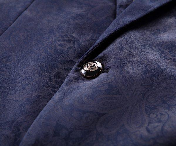 Mens Printed Floral Blazer in Navy Blue