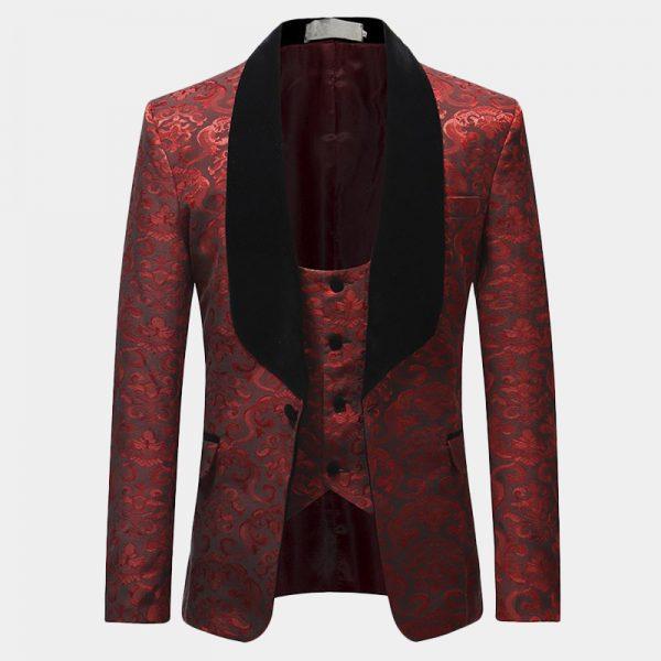 Men's Red And Black Tuxedo Jacket Wedding-Prom from Gentlemqnsguru.com.jpg
