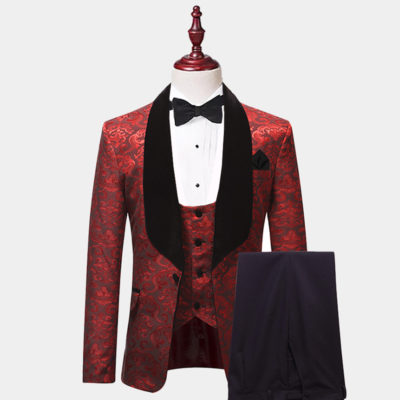 Mens Red And Black Tuxedo Suit For Prom from Gentlemqnsguru.com