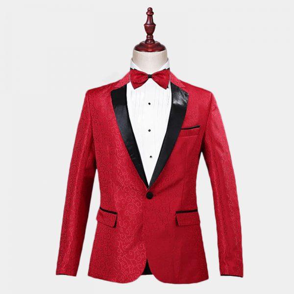 Mens Red Jacquard Tuxedo Jacket