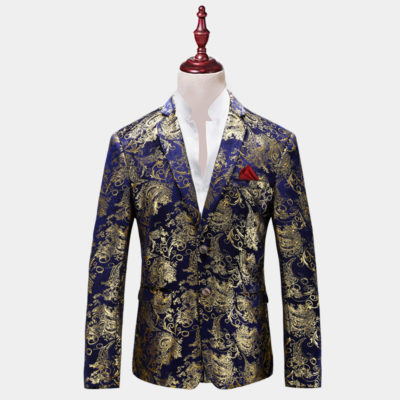 Mens Royal Blue And Gold Floral Blazer