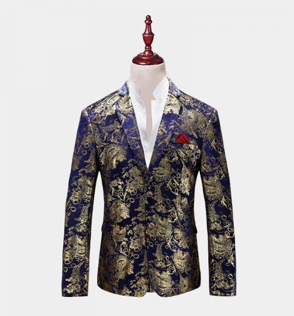 Mens Royal Blue And Gold Floral Blazer