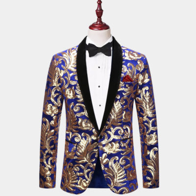 Mens Royal Blue And Gold Sequin Tuxedo Jacket